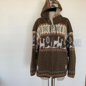 Tejidos Ruminahui zip front alpaca hooded sweater